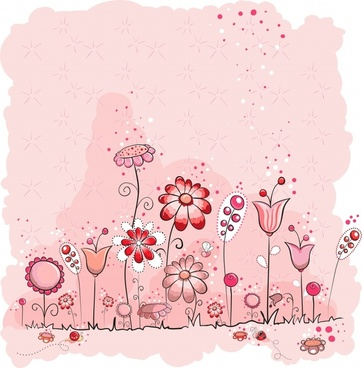 cute vector illustration pink flowers line draft