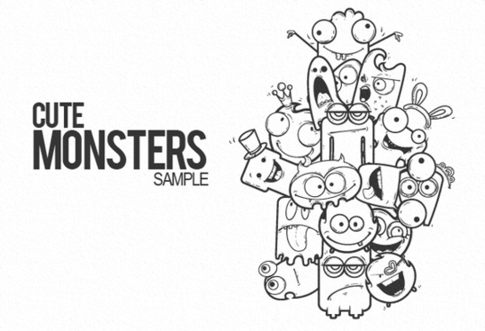 doodle monster cute free vector download  6 506 free vector  for commercial use  format  ai  eps