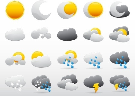 weather icons collection various colored symbols design
