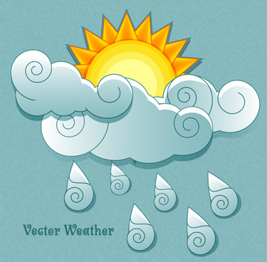 cute weather elements vector