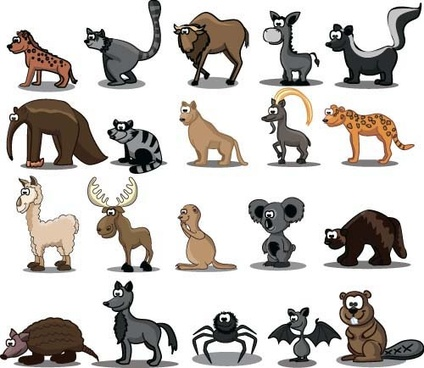 cute wild animal cartoon style vector