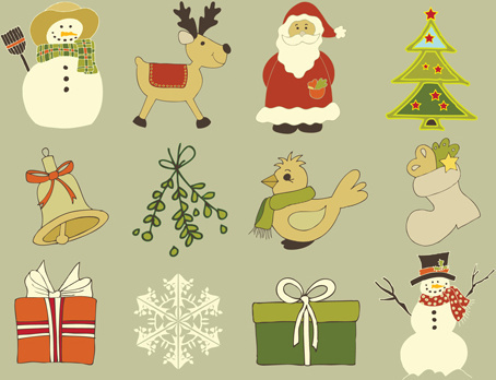 cute xmas icons mix vector graphics