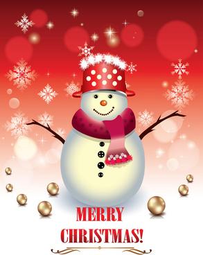 Cute xmas snowman design elements vector set Free vector in ...