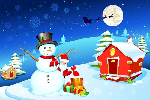 cute xmas snowman design elements vector set