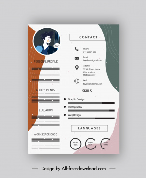 cv template bright modern colored flat curves decor