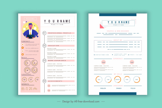 cv template contemporary layout candidate icon decor