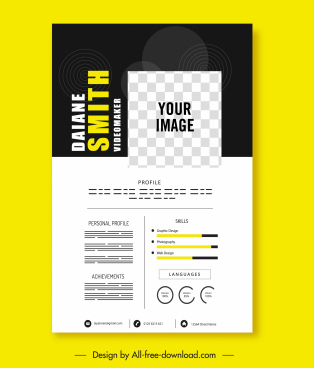cv template contrast design checkered decor