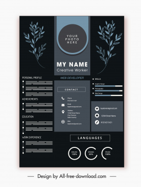 cv template elegant dark design handdrawn leaves decor