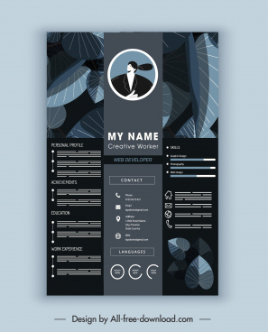 cv template elegant dark leaves decor