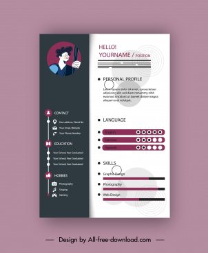 cv template modern contrast plain decor