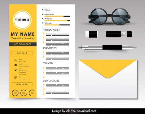 cv template modern yellow white decor
