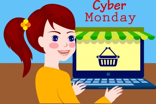 cyber monday advertisement girl laptop icon