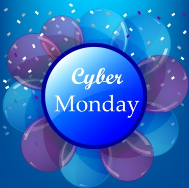 cyber monday background flowers icons shiny circles decoration