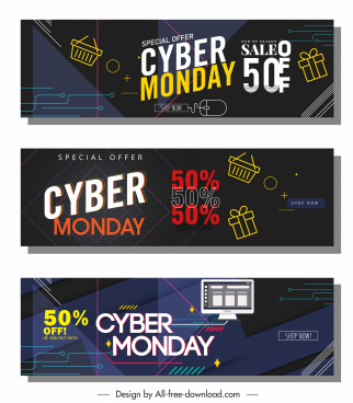 cyber monday banner templates dark modern colorful dynamic