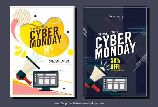 cyber monday banner templates megaphone computer sketch