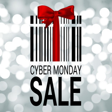 cyber monday banner with gift box and ribbon