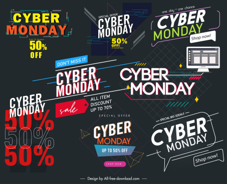 cyber monday decor templates modern dynamic texts