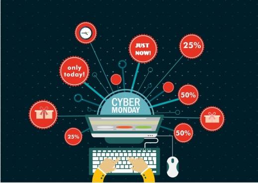cyber monday sale background laptop solar icons ornament