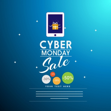 cyber monday sale background stars symbols calligraphic decoration
