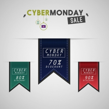 cyber monday sale poster leather ribbon ornament