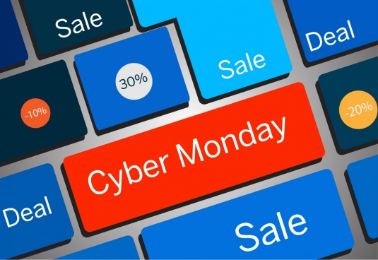 cyber monday sales background 3d colorful keyboard icons