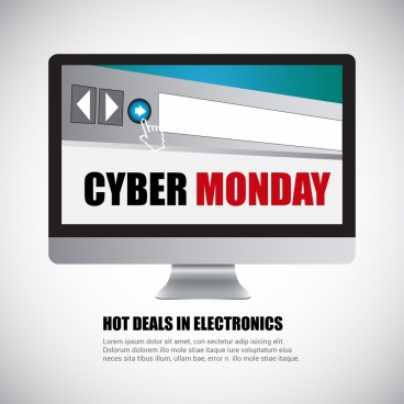cyber monday sales banner computer interface decoration