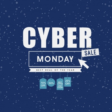cyber monday sales poster snow backdrop ornament