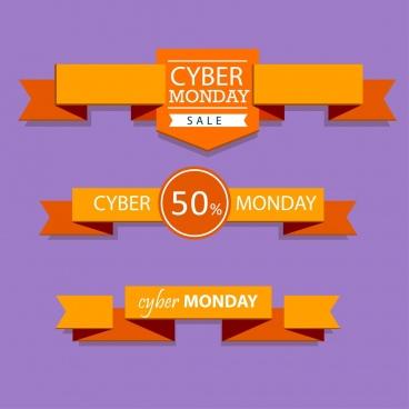cyber monday sales ribbon sets 3d orange origami