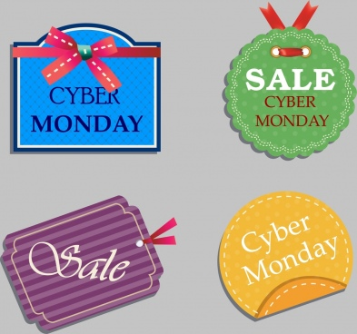 cyber monday sales tags collection colorful flat design