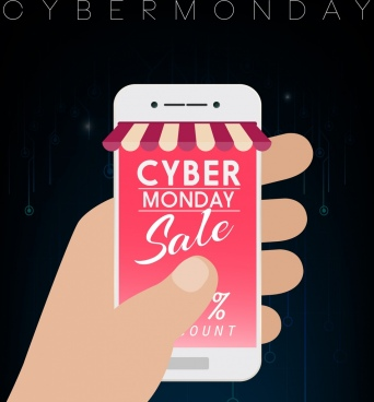 cyber sale banner smartphone screen hand icons decor