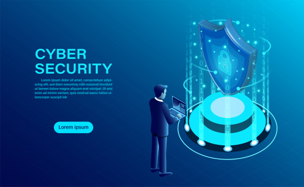 cyber security concept banner with businessman protect data and confidentiality and data privacy protection concept with icon of a shield and lock flat isometric vector illustration