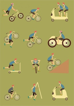 cycles sports vector illustration with various styles