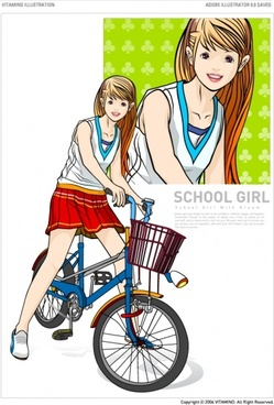 cycling female students vector