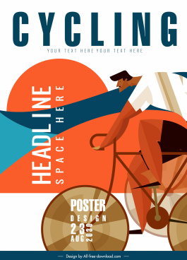 cycling sports poster cyclist icon flat classical design