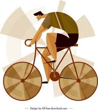 cyclist icon classical colored design cartoon sketch