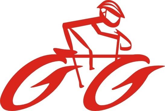 Cyclist On Bike clip art