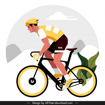 cyclist painting colorful classic flat design cartoon character