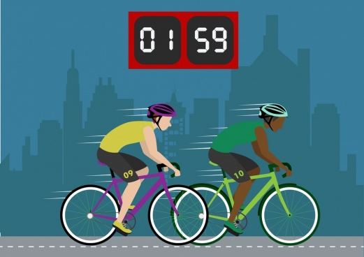 cyclists competition background auto clock decor male icons