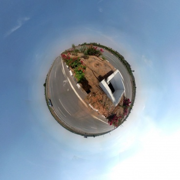 cyclorama blue sky road