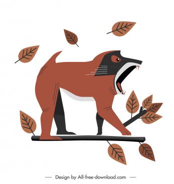 cynocephalus monkey icon flat classical sketch