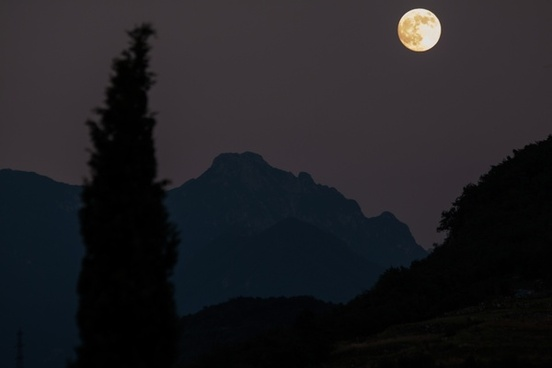 cypress mountains full moon