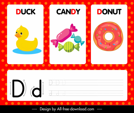 d alphabet education background duck candy donut sketch