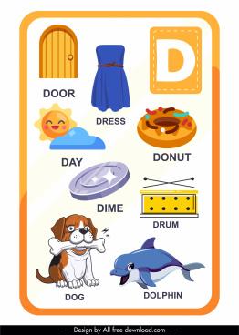 d alphabet educational template colored symbols sketch