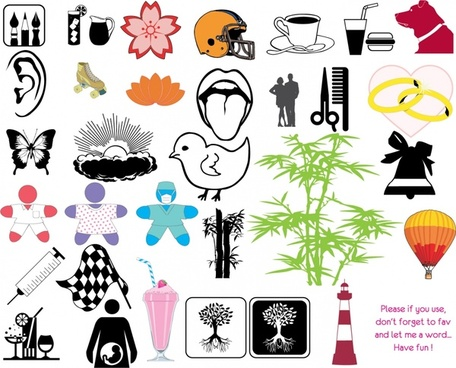 design elements collection objects utensils symbols icons