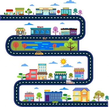 daily route concept cityscapes and layers design