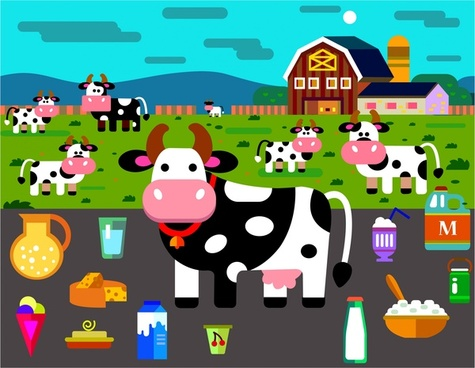 dairy products icons illustration with cow on farm