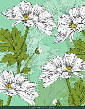 daisy floral painting handdrawn classical blurred design