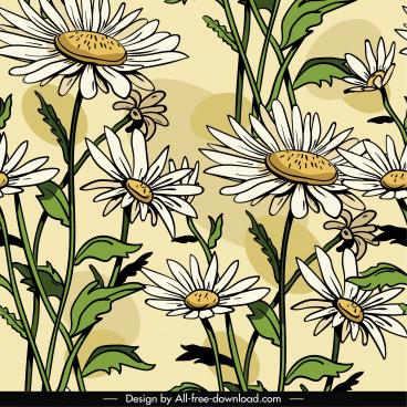 daisy pattern template classical handdrawn design