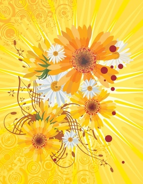 daisy background classical yellow grunge decor