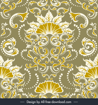 damask pattern elegant traditional flower decor symmetric design